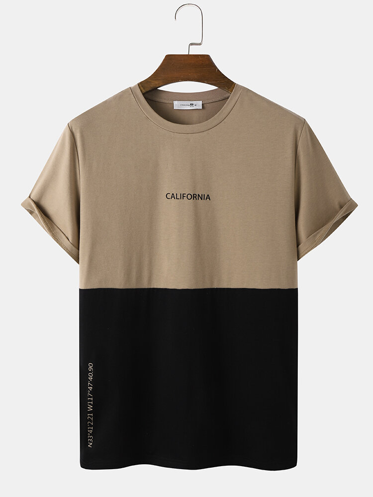 Mens Veins Citry Letter Print Two Tone Patchwork T-Shirts
