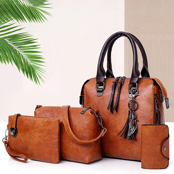 4 PCS Women Faux Leather Elegant Handbag Crossbody Bag фото