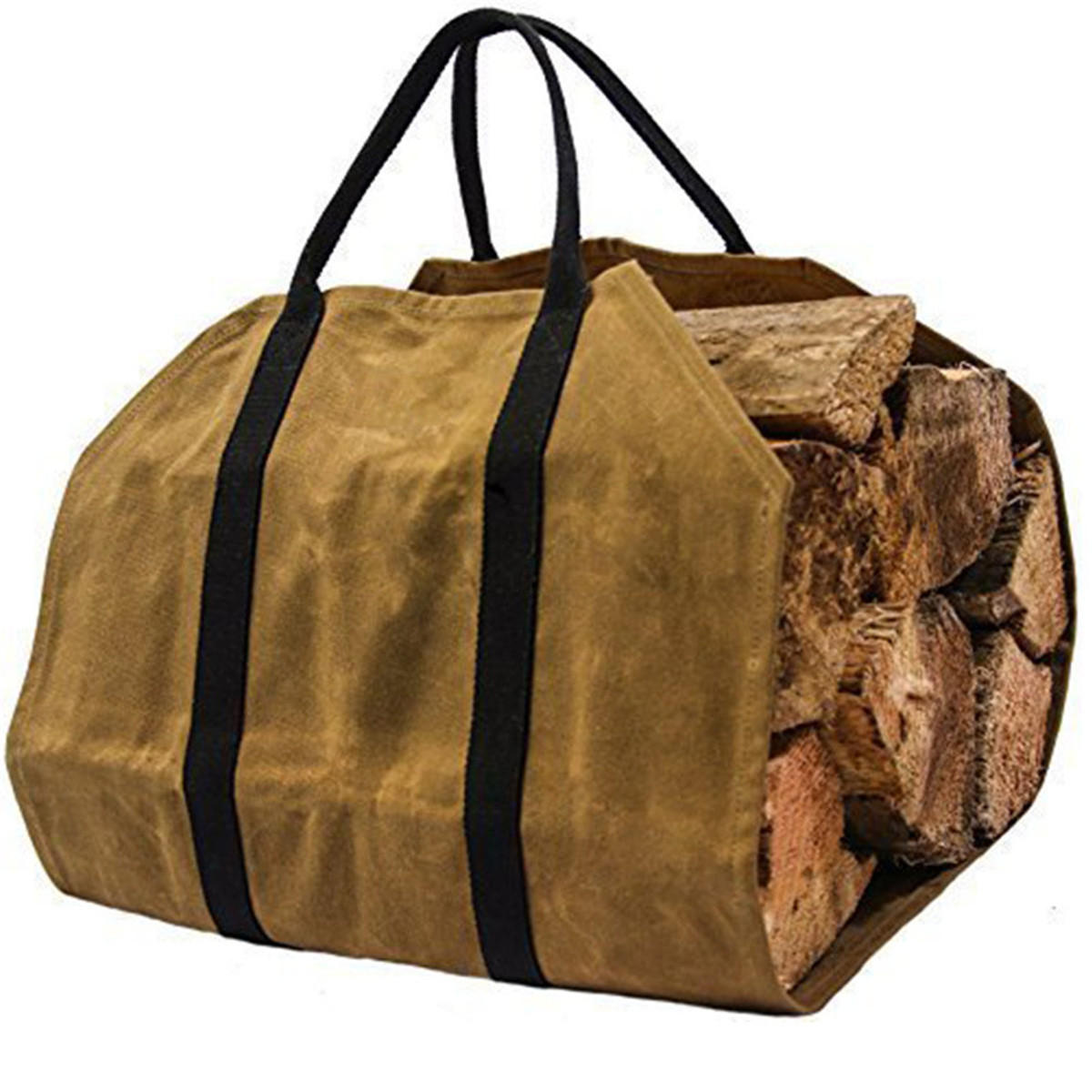 Khaki Firewood Carrier Log Wood Carrying Bag For Fireplace 16oz Waxed Canvas