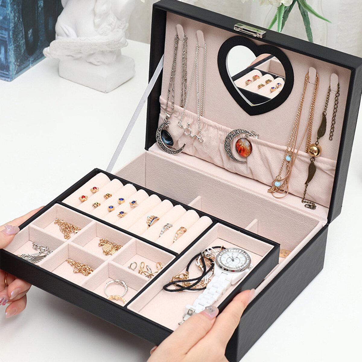 Женское хранение ювелирных изделий Чехол Искусственная кожа двухслойная высокая емкость Водонепроницаемы Часы Защитные К