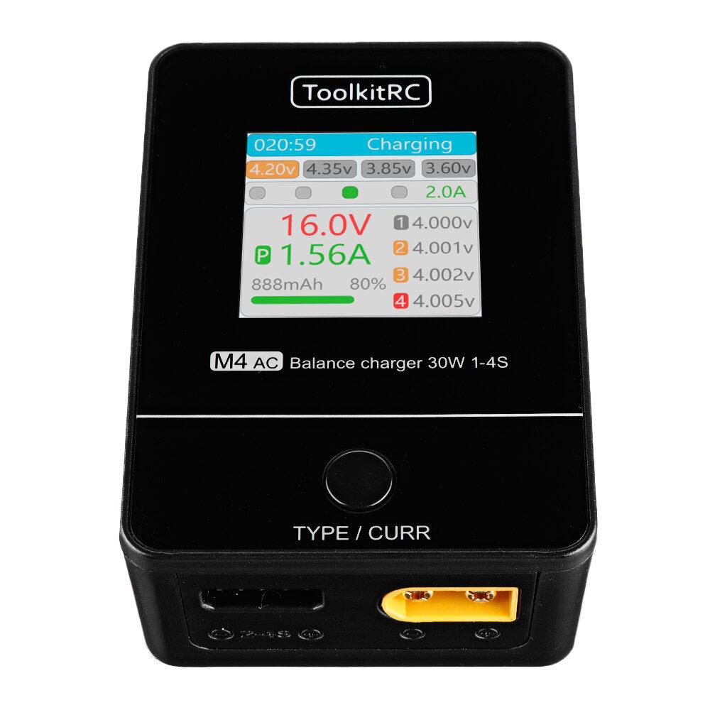 ToolkitRC M4AC 30W 2.5A AC Smart Батарея Балансировочное зарядное устройство XT30 / XT60 Выход для 1-4S LiPo LiHV LiFe Б