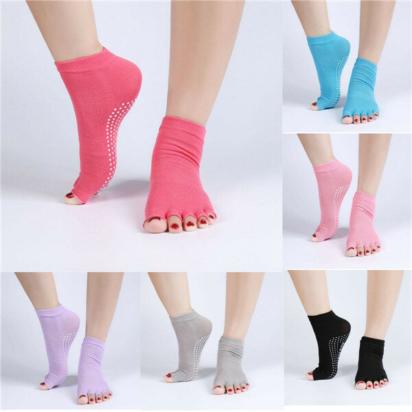 1Pair Soft Comfortable Cotton Yoga Socks Half Toe Ankle Grip Five Finger No-Slip