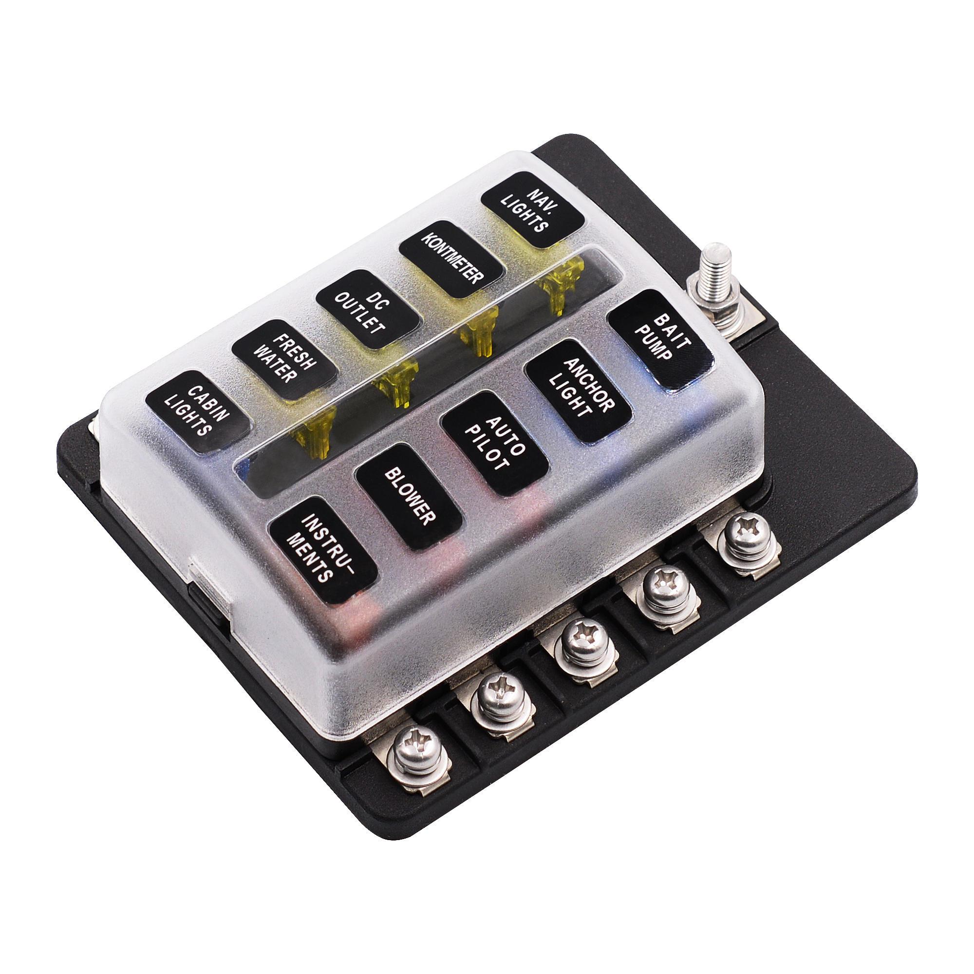imars™ 10 way fuse box 12v 32v circuit standard blade block holder kit car caravan AC Fuse Holders