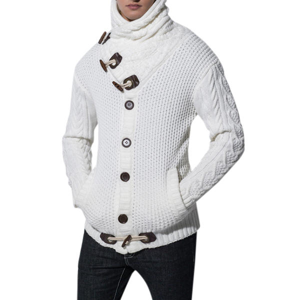 Winter Mens High Collar Cardigan Sweater Warm Coat Sweater Buttons Fashion Clothes