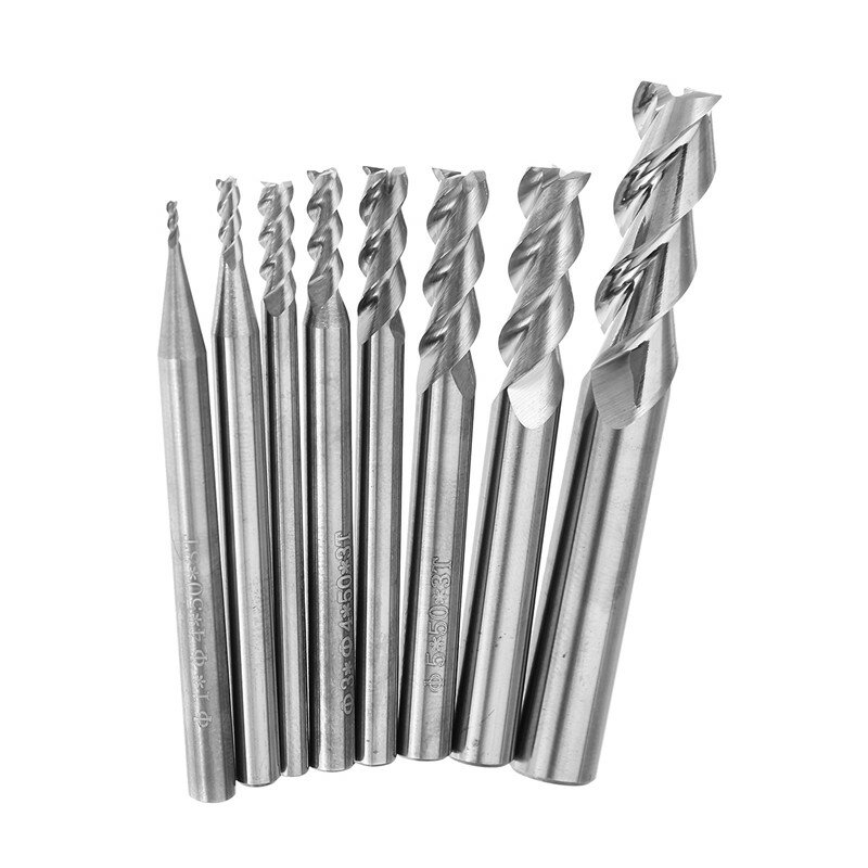 Drillpro 1-8mm HRC58 3 Flutes End Mill Cutter Tungsten Carbide CNC Milling Tool for Aluminum