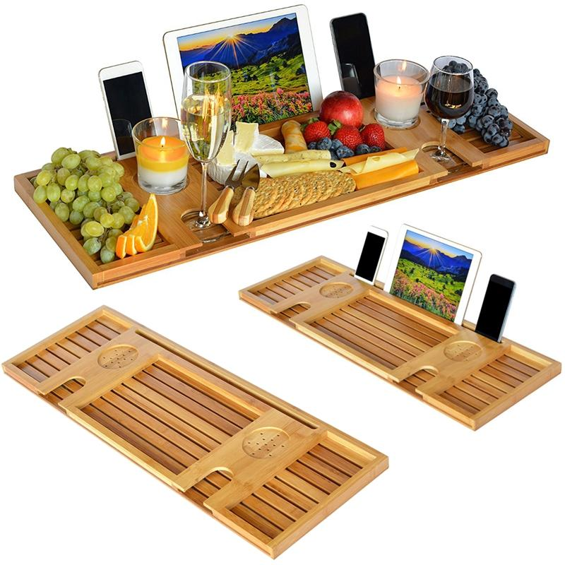 Bamboo Bathtub Caddy Tray with Reading Rack/Tablet Holder/Cellphone Tray/Wine Glass Holder COD
