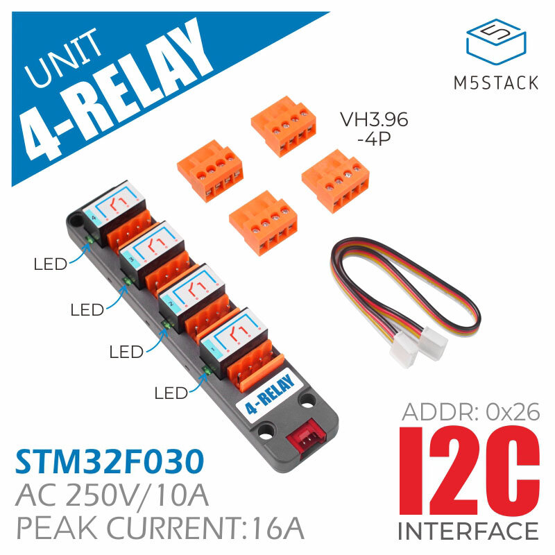 Programmable 4-Way Relay Module AC250V 10A with LED Status Indication IIC Communication Controlled Independently