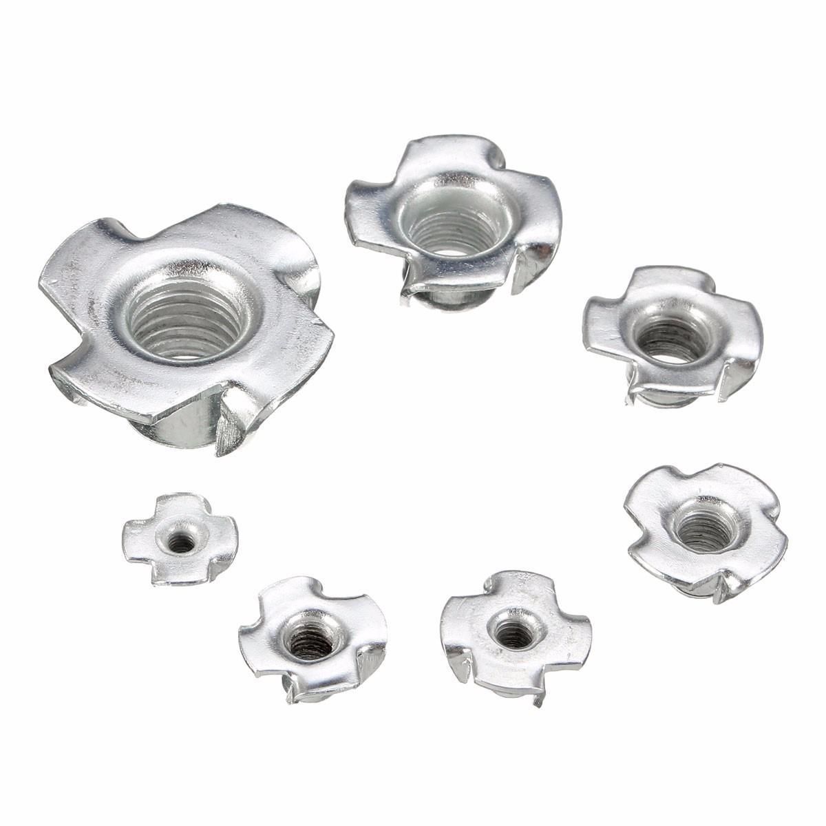 Suleve™ CSTN1 Four Prong T Nut Inserts Carbon Steel Zinc Plated For Wood M3/M4/M5/M6/M8/M12 10Pcs