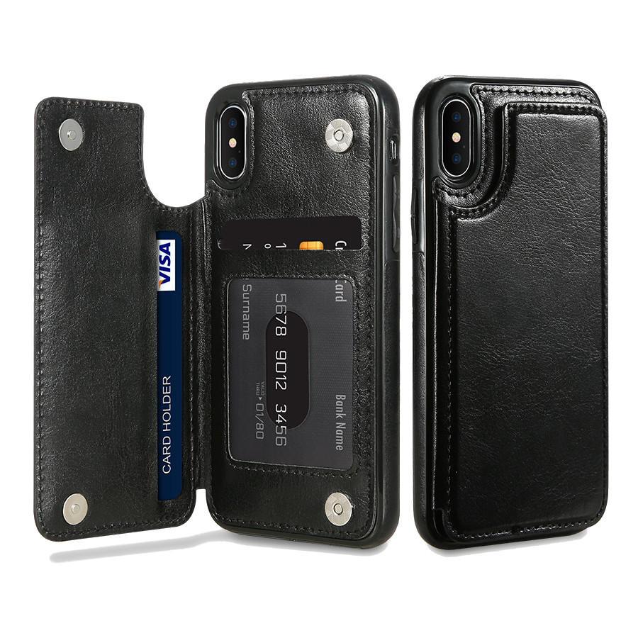 KISSCASE Retro PU Leder Card Slots Bracket Case for iPhone X 8/8 Plus/7/7 Plus/6 / 6s / 6 Plus / 6s Plus