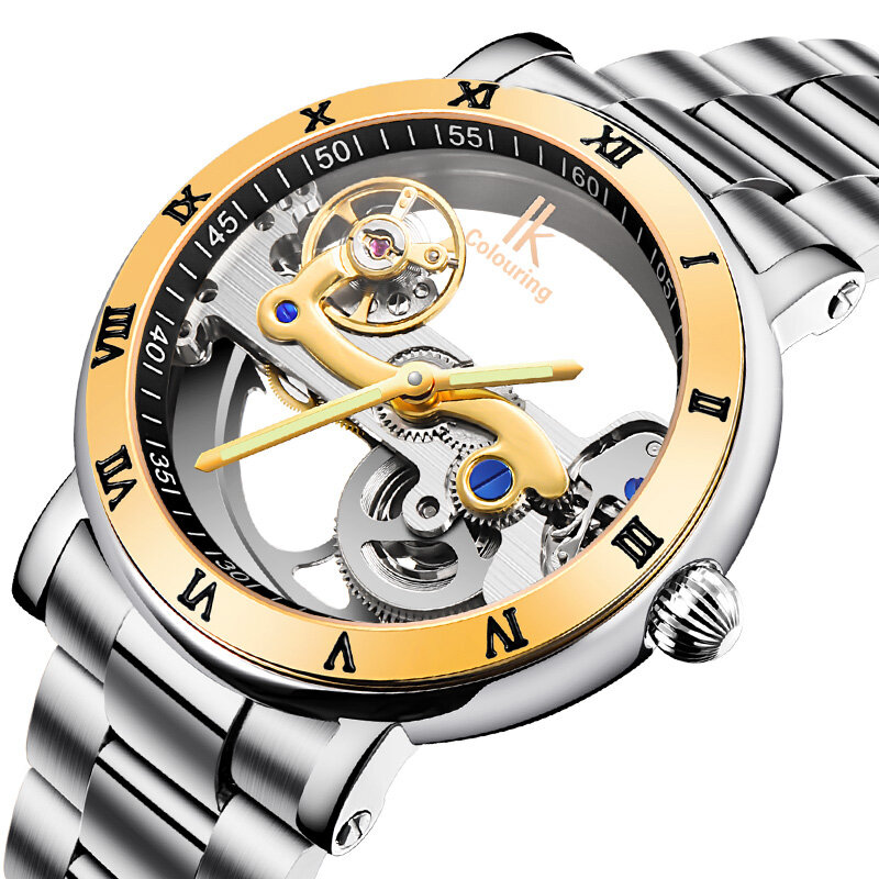 IK COLORING 98399 עסקים סגנון גברים שעונים רצועת היד נירוסטה רצועת אוטומטית שעונים מכניים