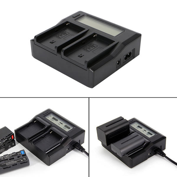 Dual Battery Charger for Sony NP-F550 NP-F750 NP-F770 NP-F970 Photography Light