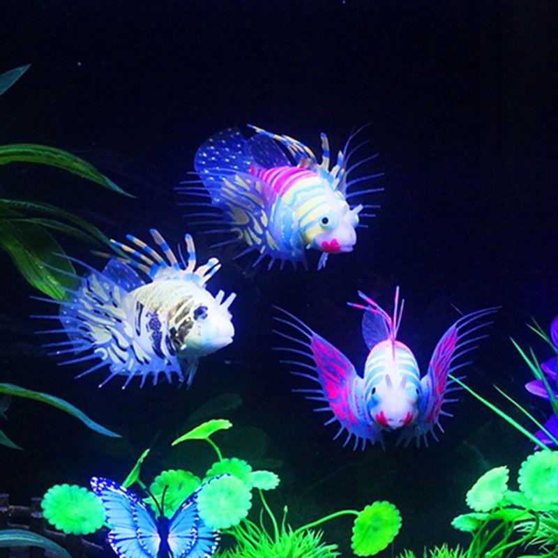 Glow In The Dark Artificial Acuario Adorno de pez león Pecera de medusa Decoraciones