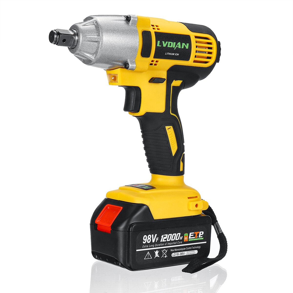 98VF 320Nm 12000mAh Cordless Electric Impact Wrench Drill Screwdriver 110-240V