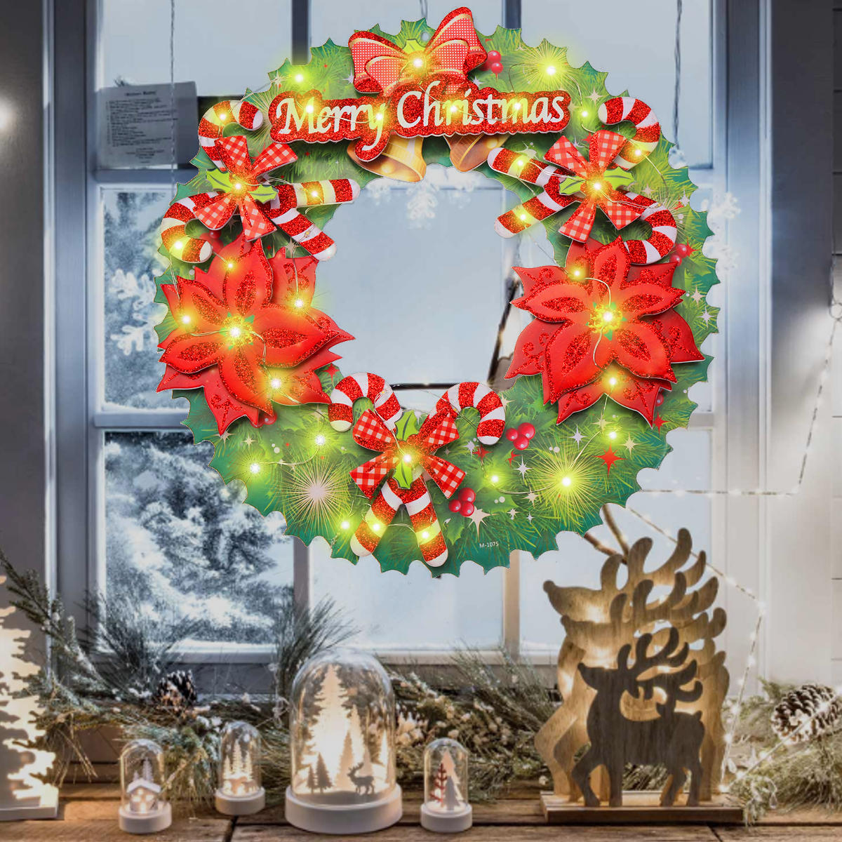 Battery Power Led Light Up Wreath Hanging Ornaments Christmas Home Party Decor Holiday String Light