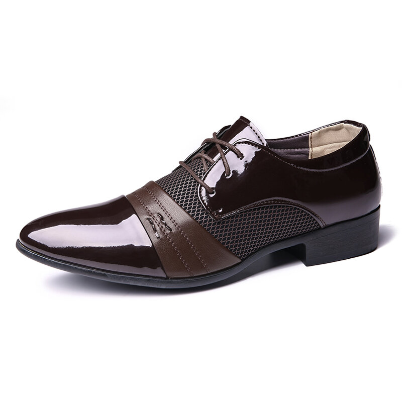 Men Soft Formal Business Mesh Microfiber Stitching Oxfords