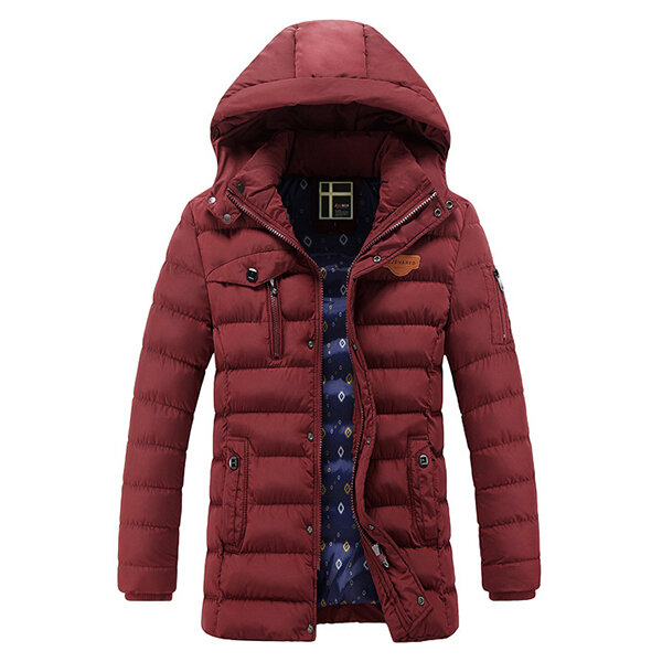 Mens Mid-long Hooded Warm Puffer Padded Jacket Zipper Solid Color Parka