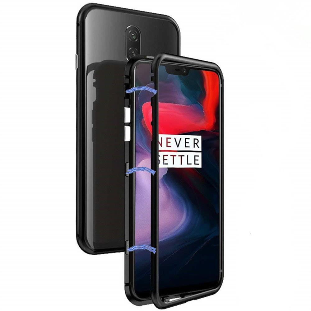 outlet store 32e1b 9b953 Bakeey™ Magnetic Adsorption Metal Frame Temerped Glass Back Cover  Protective Case For OnePlus 6T