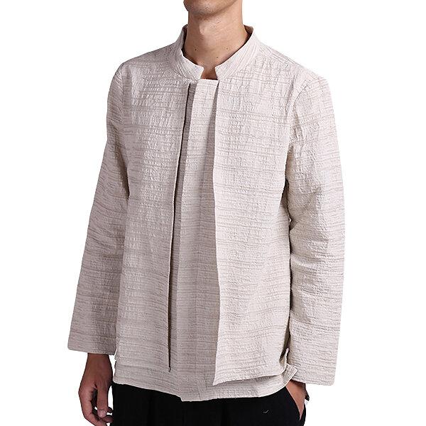 Vintage Kinesisk stil Linen Casual Loose Spring Autumn Långärmade T-shirts Coat for Men