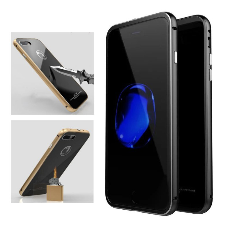 buy online 04f82 d0d2f Luphie Metal Bumper+9H Tempered Glass Shell Case For iPhone 7/7 Plus & 8/8  Plus