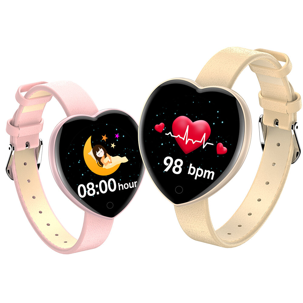 [Custom Dial ]Bakeey T52 Female Physiological Cycle Track 24h Heart Rate Blood Pressure Oxygen Monitor Weather Display M