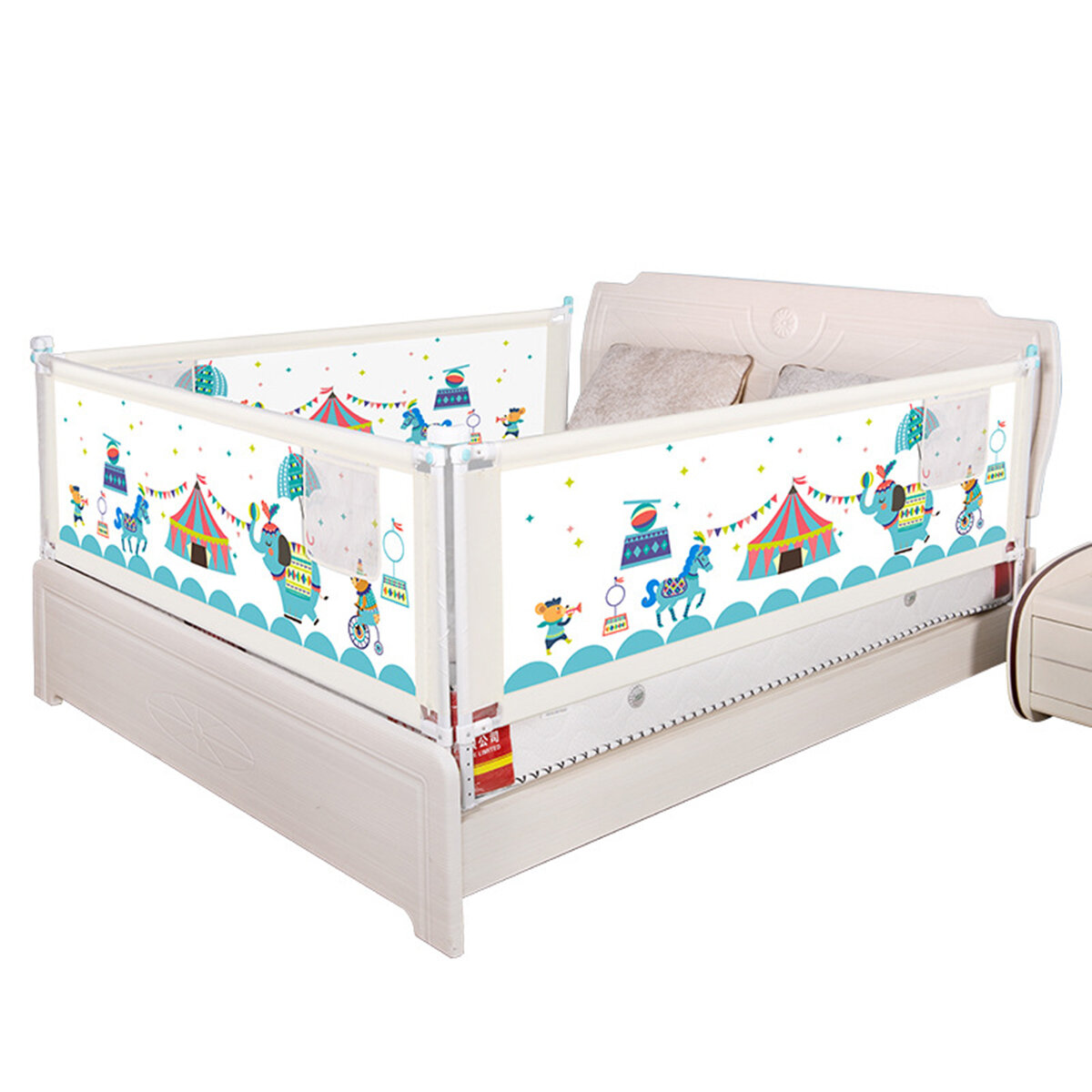 1.5/1.8/2m 8-Levels Adjustable Height Baby Bed Rail Fence Guardrail with Double Button Lock Toddler Safety Gate Children