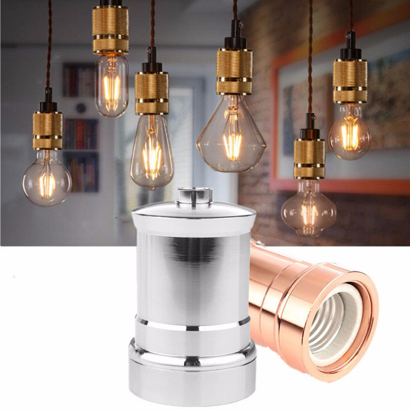 E26//E27 Lamp Socket Aluminum Vintage Industrial Edison Pendant Lamp Holder Replacement E26//E27 Screw Lamp Base for Industrial and Decoration Gold