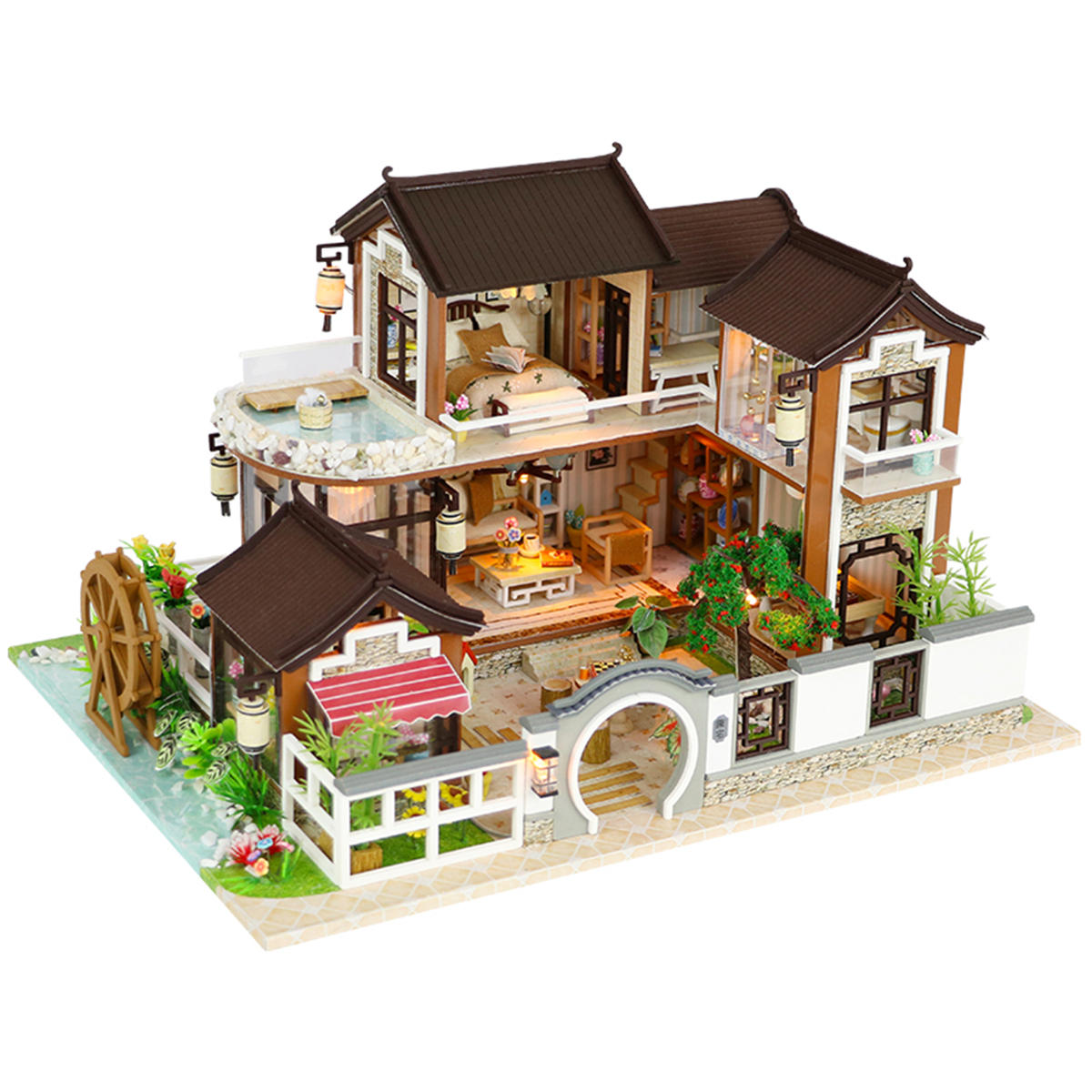 Fabulous Diy Dollhouse Miniature Doll House Furniture Kit Led Kids Cat Birthday Xmas Gift House Download Free Architecture Designs Viewormadebymaigaardcom