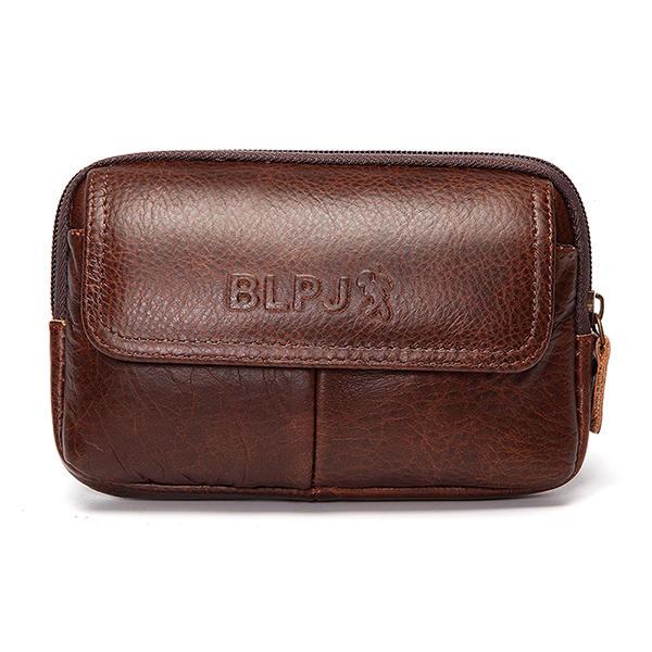 6inch Cell Phone Waist Bag Men Retro Cowhide Leather Waist Bag