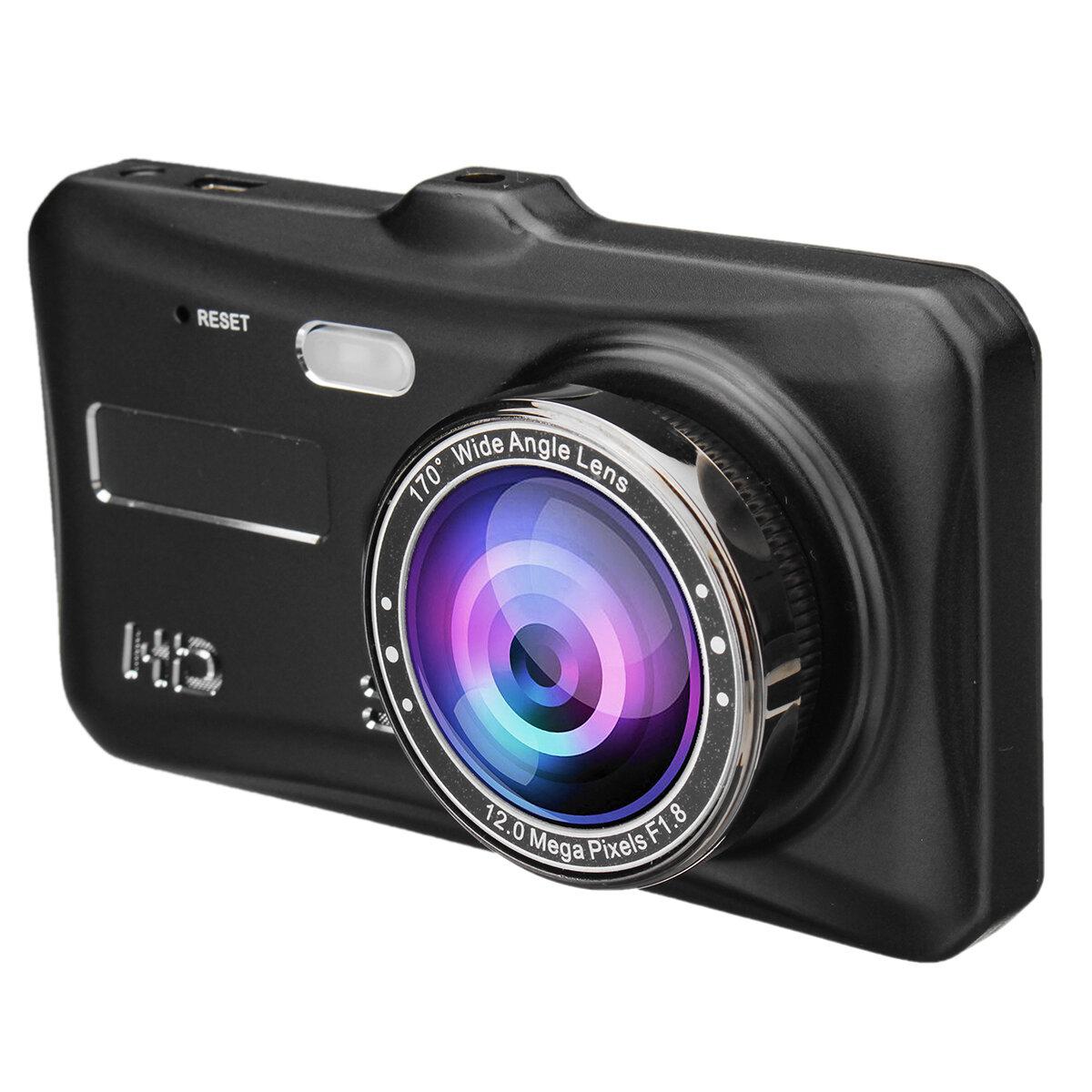 4インチ1080P HD車デュアルレンズフロント+リア車のダッシュカムDVRカメラレコーダータッチスクリーン