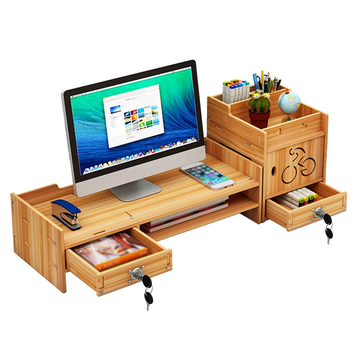 Wood MonitorStand Desktop Computer Riser LED LCD Monitor Support Holder File Storage Drawer Rack with/without Lock