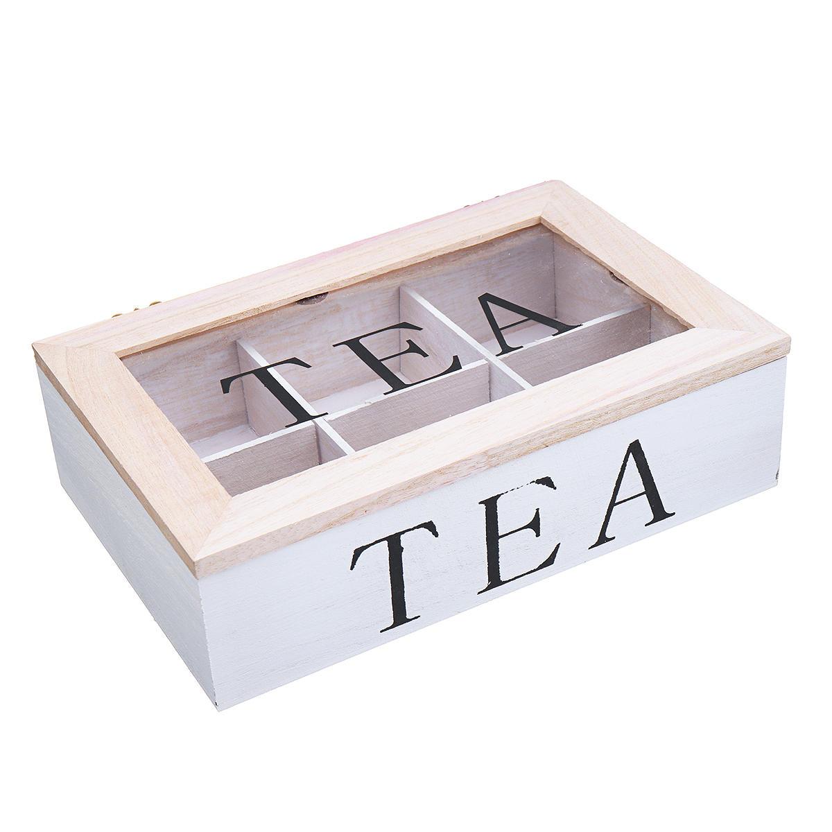 6 compartimentos de madera Té Bolsa Almacenamiento Caja Clear Top Container Storage Chest Tin Gift Caso