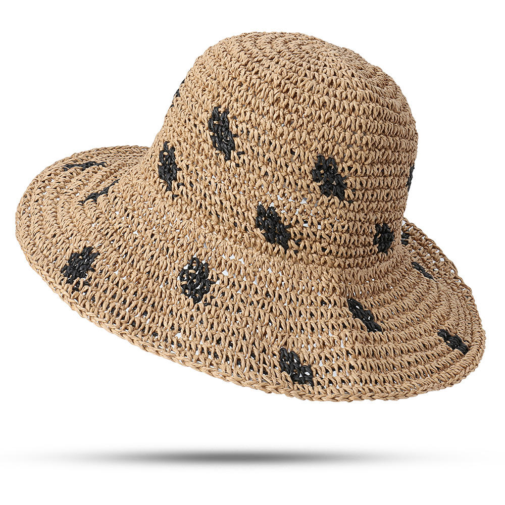 Women Foldable Sunscreen Bucket Straw Hat Outdoor Casual Travel Beach Sea Floppy Hat