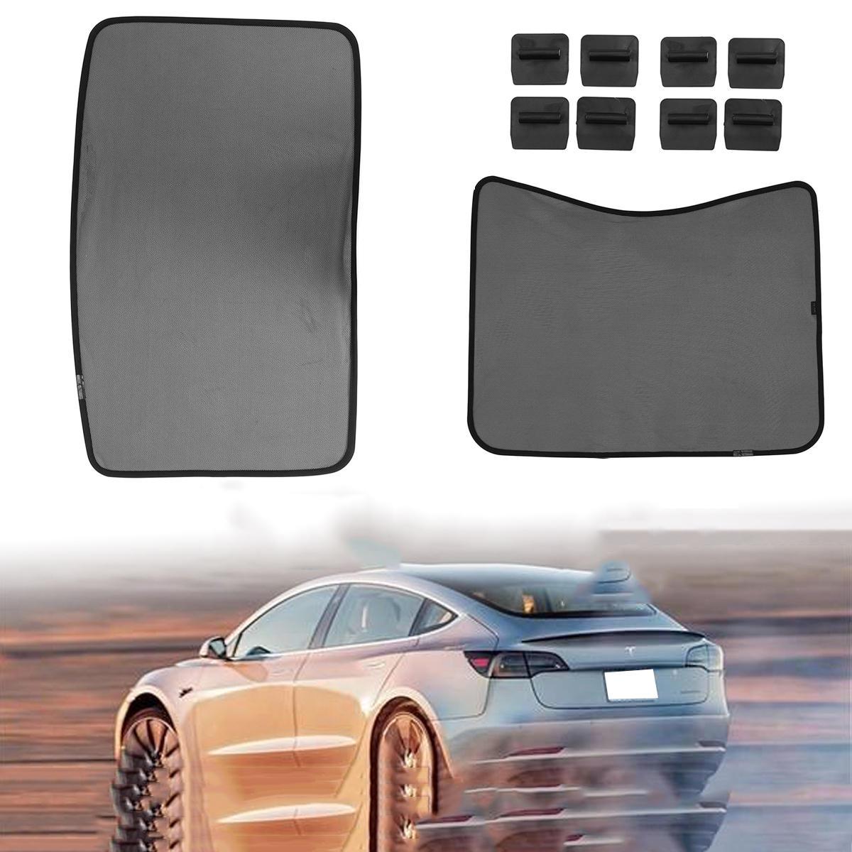 टेस्ला मॉडल 3 स्काईलाइट स्क्रीन शेड कर्टेन के लिए मेश रूफ कार विंडो सनशेड शील्ड कवर
