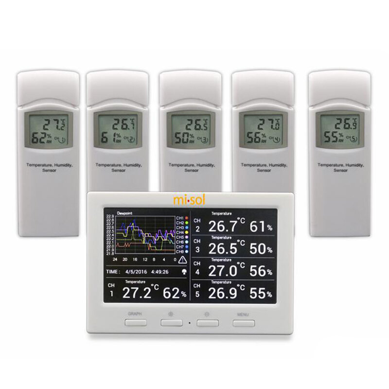 Misol HP3001 Wireless Weather Station with 5 Sensors 5 Channels Color Screen Data Logger Connect to Computer
