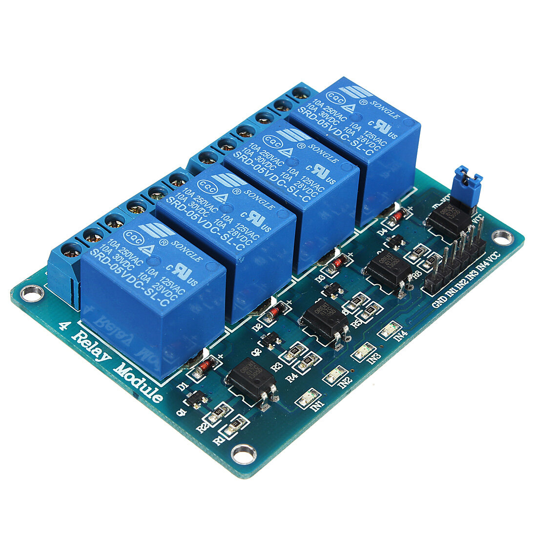 Geekcreit 5V 4 Channel Relay Module For  PIC ARM DSP AVR MSP430 Blue