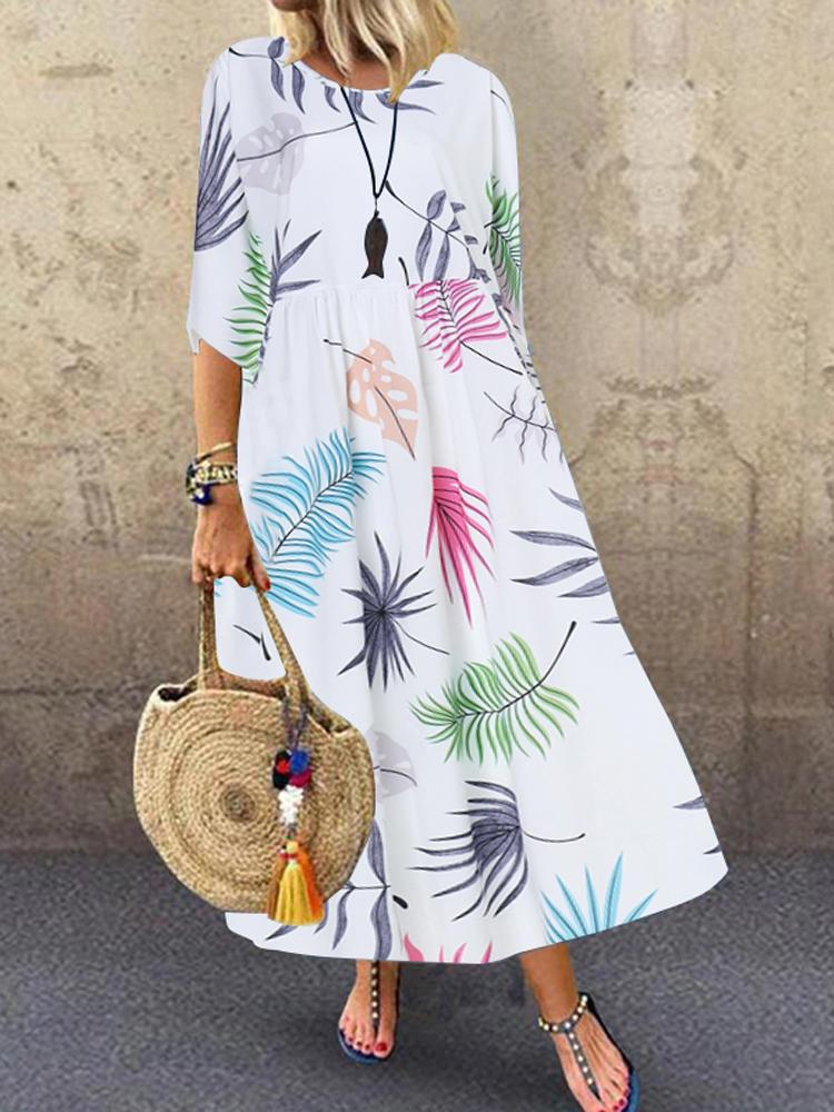 Bohemian 3/4 Sleeve O-Yaka Çiçek Baskı Casual Maxi Elbise
