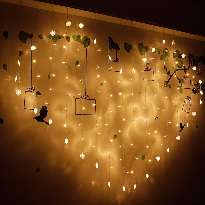 2x1m 128 LED Hình trái tim Chuỗi ánh sáng 220 V Rèm ánh sáng Trang trí nội thất Lễ hội Giáng sinh