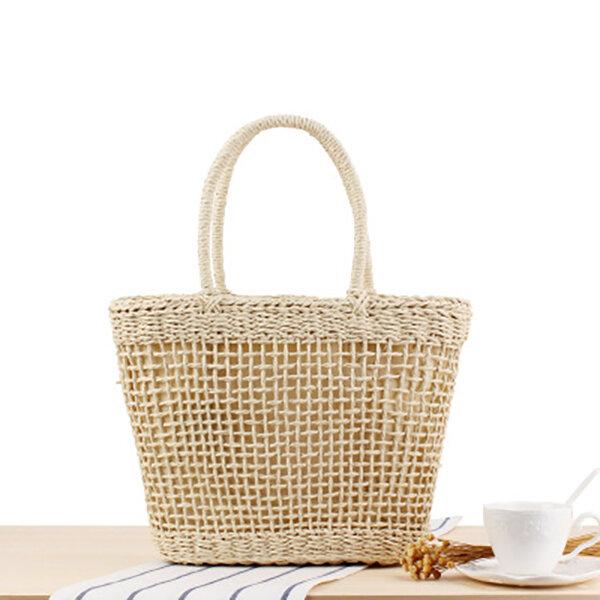 Women Portable Hollow Woven Handbag Travel Basket Tide Stylish Straw Bag