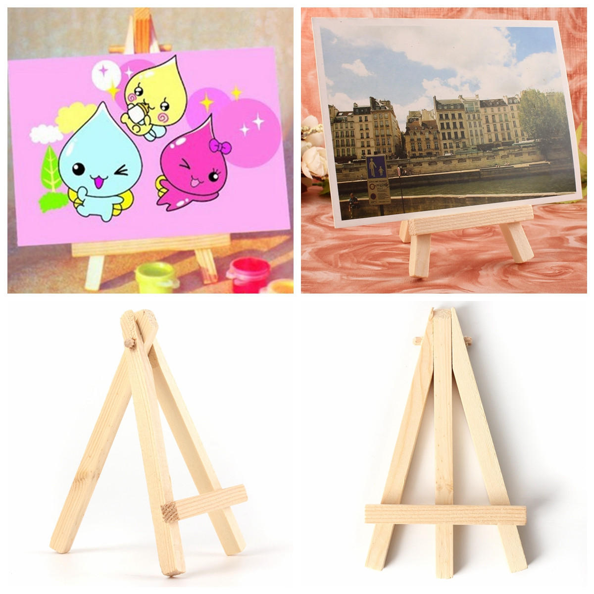10 pcs 2.75'' x 4.72'' Tablet Drawing Board Holder Wooden Easels Art Painting Stand Display for Kids Student Artist Supplies