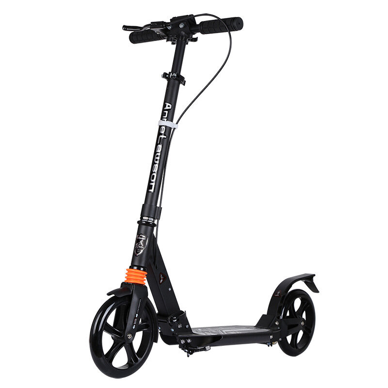 ANLOSAN A5-S Folding Scooter Handbrake Height Adjustable Max. Load 100kg Kick Scooter Two Wheels Scooter for Youth Adult