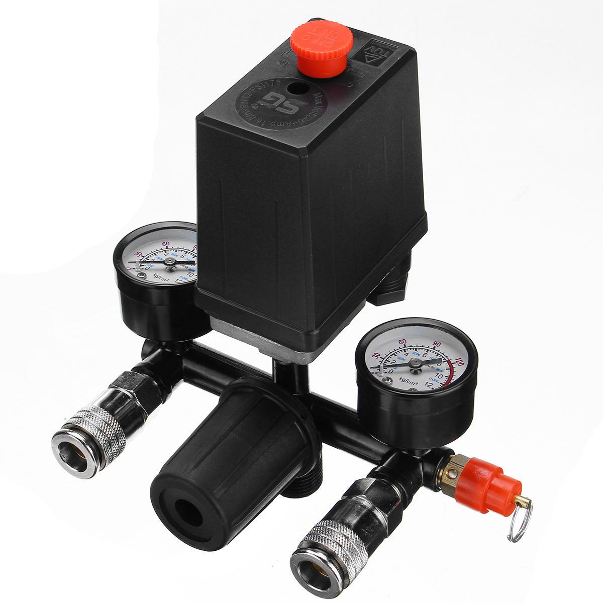 Air Compressor Pressure Switch Control Valve Manifold Regulator Gauges With Quick Connector