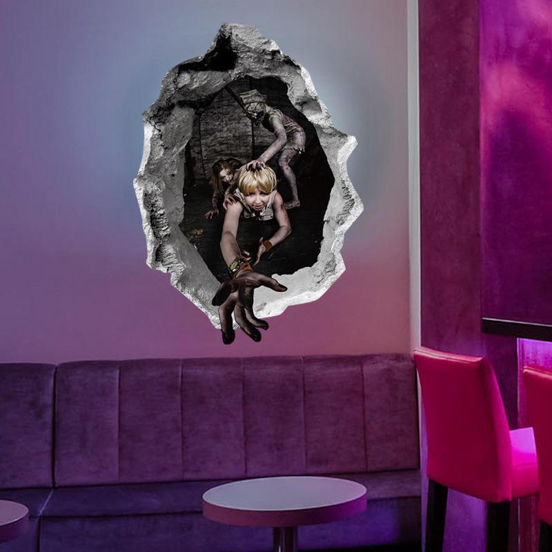 Miico Halloween Wall Sticker Girl Ghost Broken Wall Stickers Bar KTV Haunted House Decor