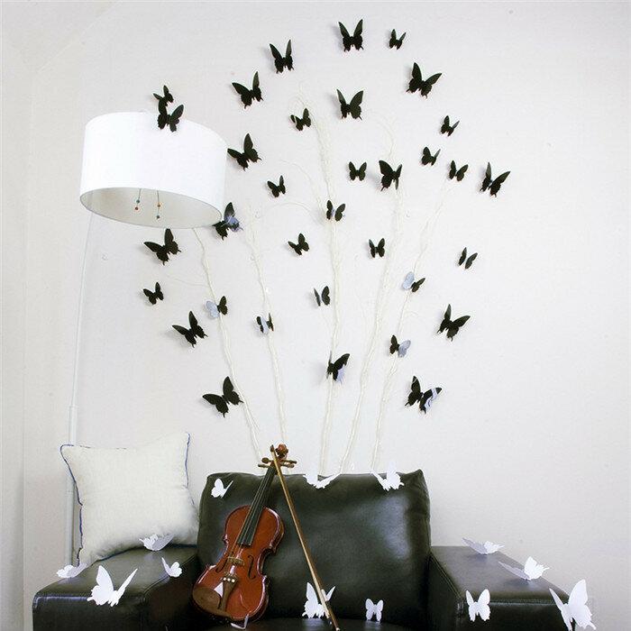12pcs 3d pegatinas de pared de la mariposa de la puerta ventana de pared de la sala se dirigen la etiqueta vinilo decorativo
