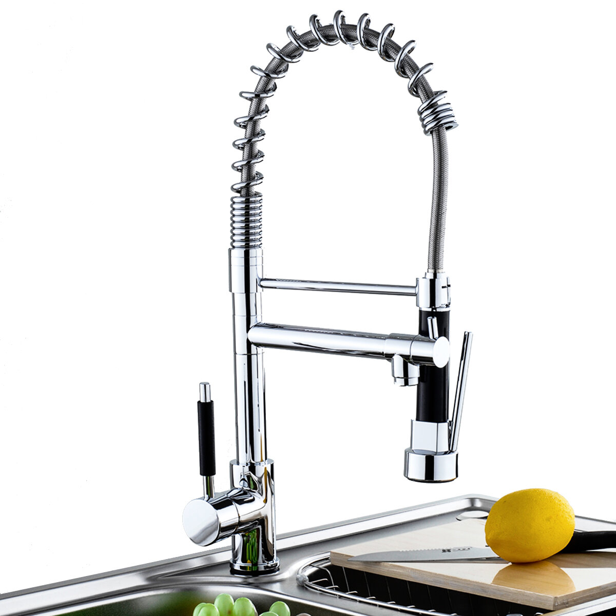 Kitchen Sink Mixer Faucet Pull Out Sparyer Tap Single Handle Chrome Brass Brushed Tap Collapsible
