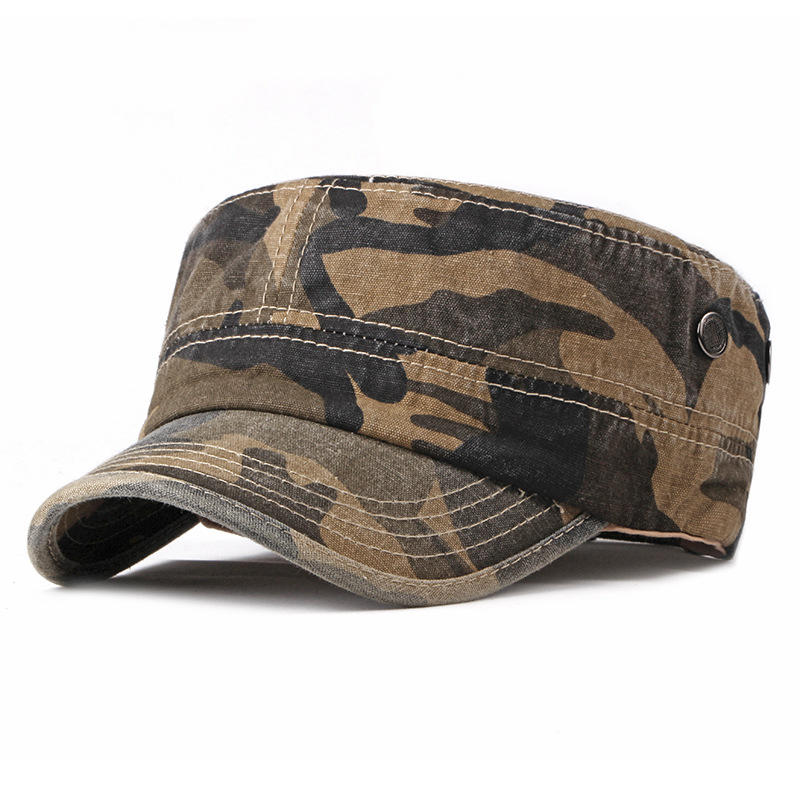 Men Washed Cotton Camouflage Flat Top Hat Military Cadet Cap, Banggood  - buy with discount