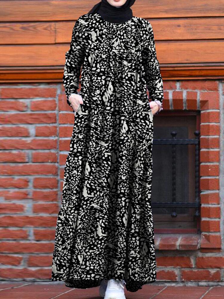 Vestidos maxi femininos com estampa floral retrô e decote em O kaftan manga comprida com bolso