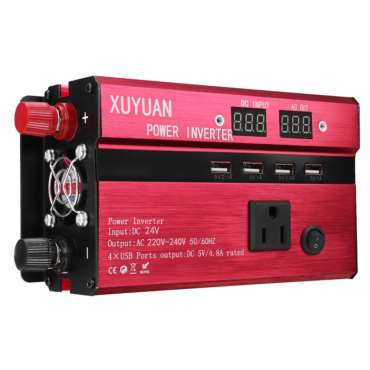 2000W Solar Power Inverter 12V//24V to 120V//220V Modified Sine Wave Converter USB