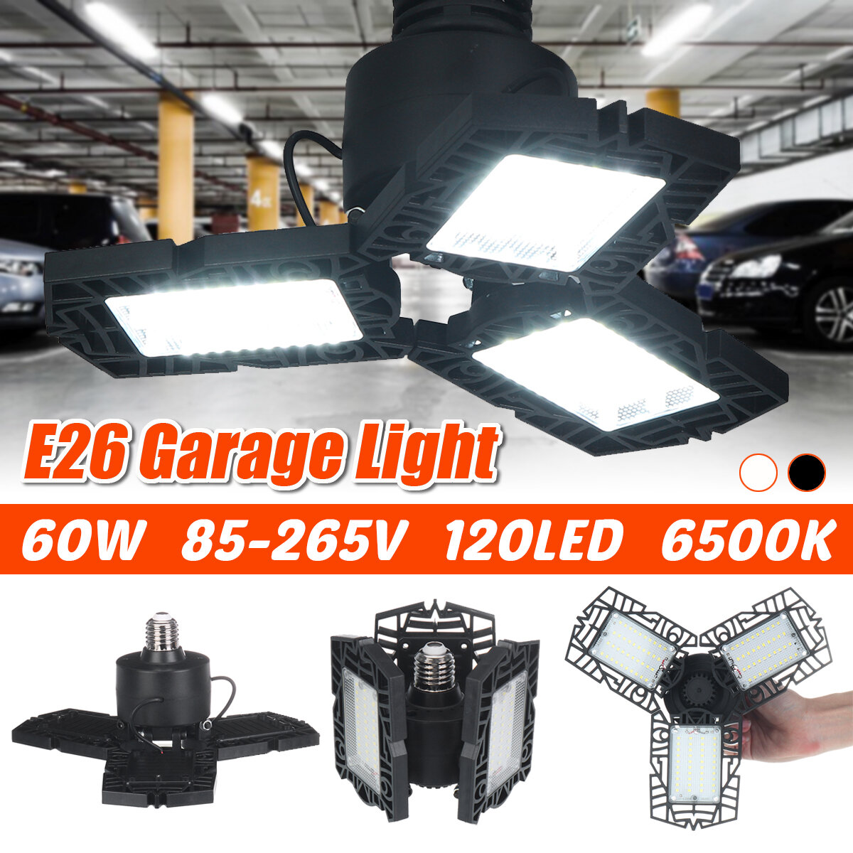 E26 60W 120LED Garage Light Bulb Foldable Fan Industrial Workshop Ceiling Lamp 85-265V