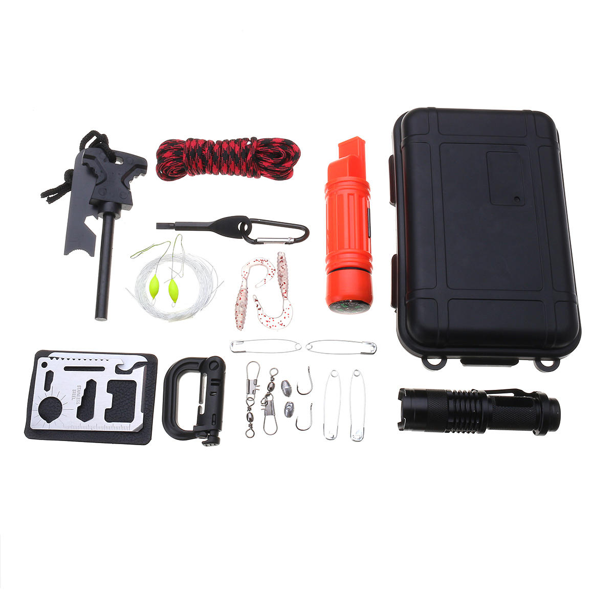 Emergency Survival Gear Kit SOS Survival Tools Kit With Umbrella Rope Compass Whistle Carabiner, Banggood  - buy with discount