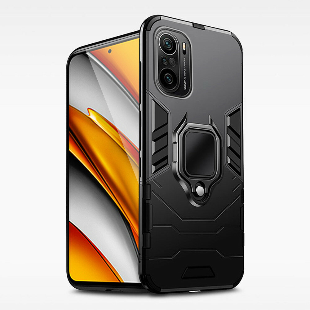 Bakeey for POCO F3 Global Version Case Armor Shockproof Magnetic with 360° Rotation Finger Ring Holder Stand PC Protecti